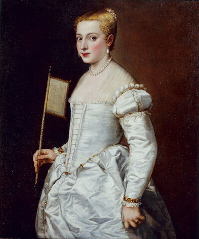 Titian, 'Portrait of a Lady in White', about 1555