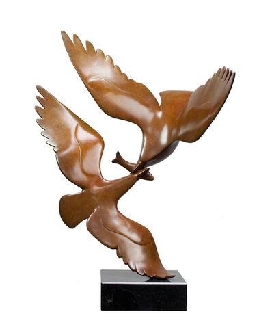 Evert den Hartog, 'Two gulls with fish no. 2 (Twee meeuwen met vis no. 2)'