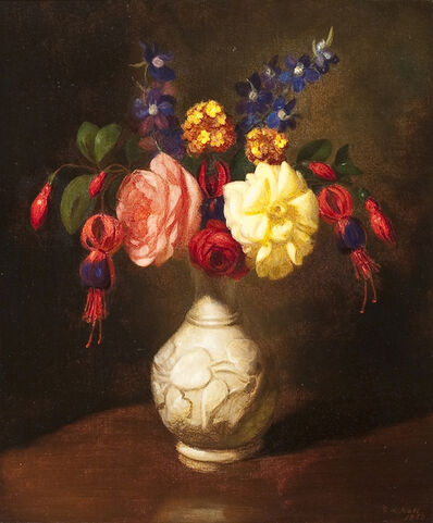 George Henry Hall, 'Still Life of Flowers in a White Vase', 1860