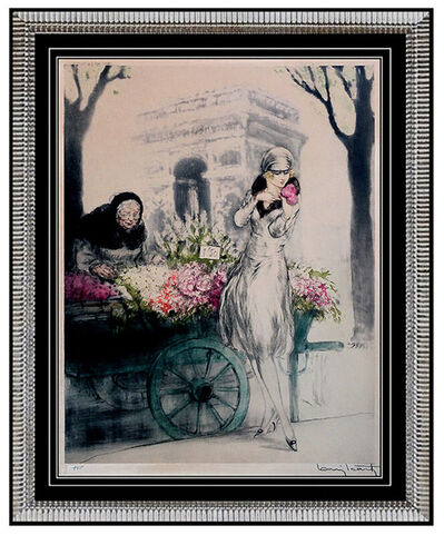 Louis Icart, 'LOUIS ICART Original 1928 ETCHING Hand Colored Signed ART DECO Aquatint PARIS', 1928