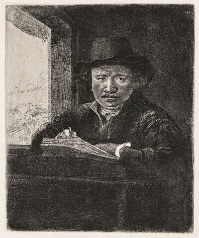 Rembrandt van Rijn, 'Self Portrait Drawing at a Window', 1648-a late impression