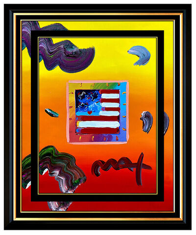 Peter Max, 'PETER MAX Acrylic Painting ORIGINAL FLAG WITH HEART Signed POP ART oil Love USA', 21st Century