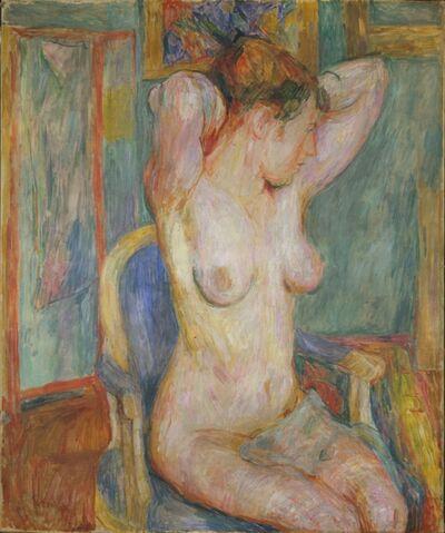 Hans Purrmann, 'Weiblicher Akt auf blauem Sessel ', 1918