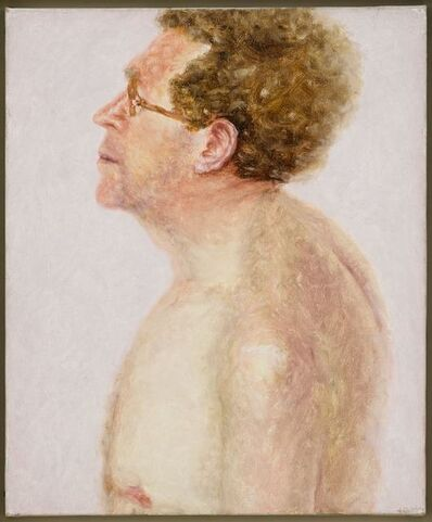 Avigdor Arikha, 'Self-portrait, Nude Bust in Profile, on Pink Background', 1975