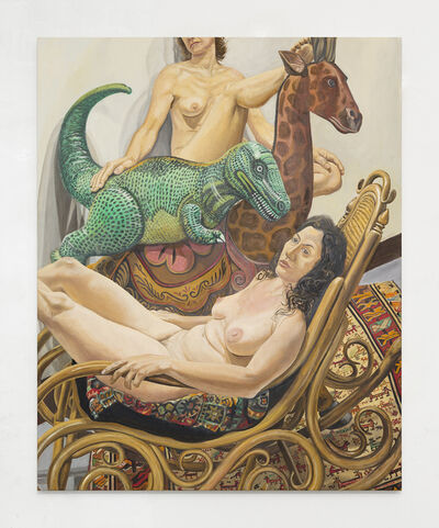 Philip Pearlstein, 'Two Models with Giraffe, Dinosaur and Bent-Wood Rocker', 2017