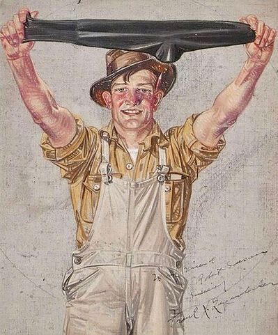 Francis Xavier Leyendecker, 'Farmer in Overalls Stretching a Black Sock, Interwoven Socks Ad', 1920