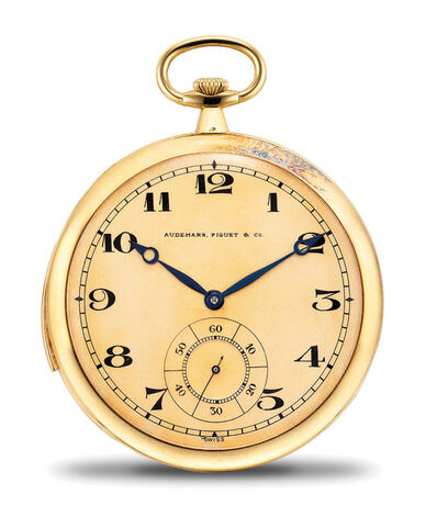 Audemars Piguet, 'A very rare, very fine and attractive yellow gold ultra thin minute repeating openface pocket watch with extra movement', 1914