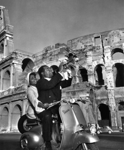 Slim Aarons, 'Jazz Scooter: Louis Armstrong and Lucille Brown, Rome, Italy', 1949