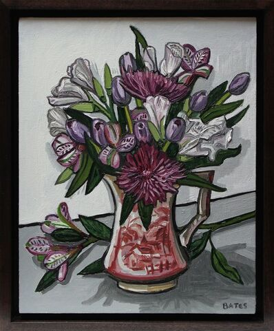 David Bates, 'Flowers in a Red Vase', 2016