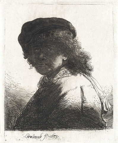 Rembrandt van Rijn, 'Self Portrait in a Cap and Scarf with the Face Dark: Bust', 1633