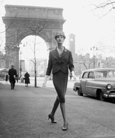 William Helburn, 'Simone D'Aillencourt, Washington Square Arch', ca. 1959
