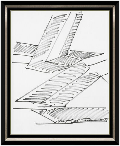 Mark di Suvero, 'Mark Di Suvero Original Ink Drawing Hand Signed Framed Artwork Steel Sculpture', 1994