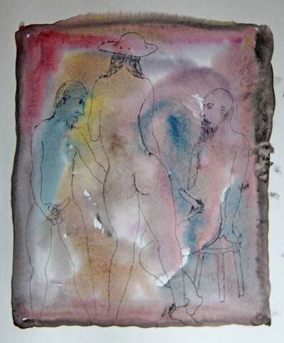 Tasaduq Sohail, 'Untitled (two nude men and nude woman in hat)', Undated