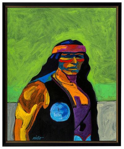 John Nieto, 'John Nieto Large Acrylic Painting On Canvas Signed Native American Portrait Art', 21st Century