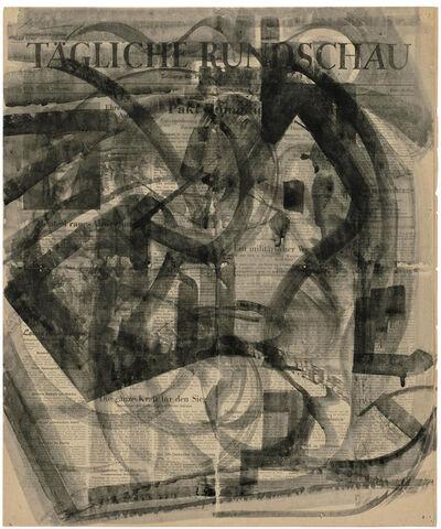 Hermann Glöckner, 'Bewegte Pinselzüge in Schwarz, kreisend auf Zeitung,', 1948