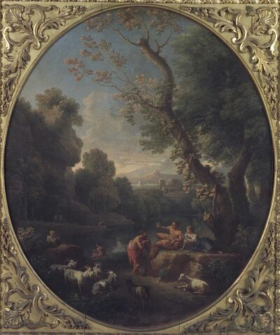 Jan Frans van Bloemen, called Orizzonte, 'Landscape of Lazio with Shepherds and a Flock', 1726