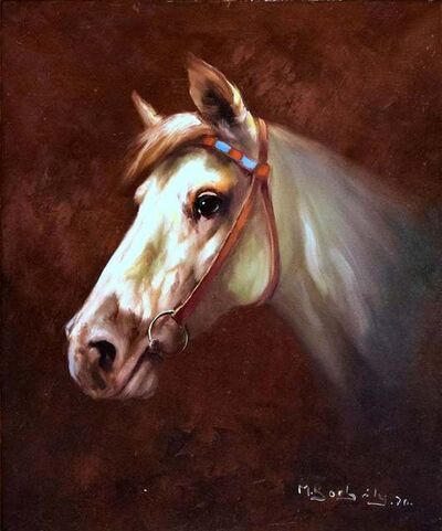 Michael Bobely, 'Portrait of a White Horse with Bridle', 1970