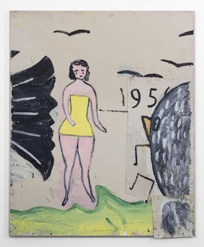 Rose Wylie, 'Yellow Bathing Costume, and 6 Birds', 2019