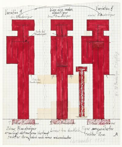 Joannis Avramidis, 'Orthogonale Bandfiguren, Proportionsstudie Entwurf', 1970