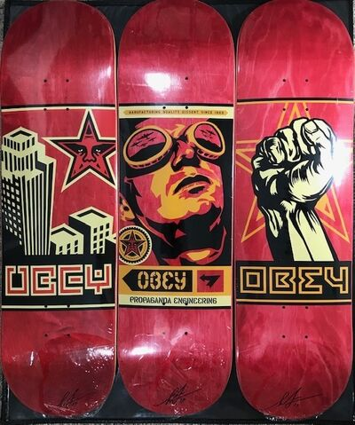 "Shepard Fairey, '30th Anniversary Skateboard Decks ""Set of 3"" ', 2019"