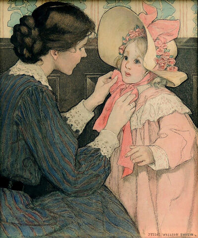 JESSIE WILLCOX SMITH, 'The Pink Bonnet', 1907