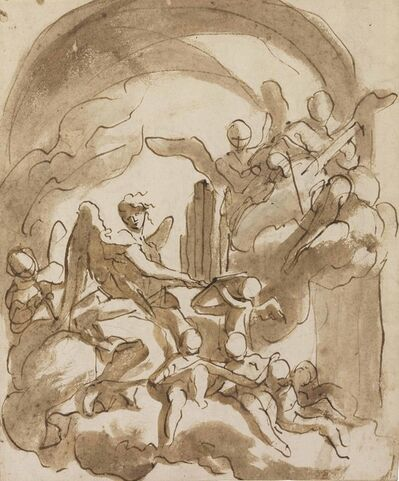 Domenico Piola, 'Angels and putti making music in the clouds'