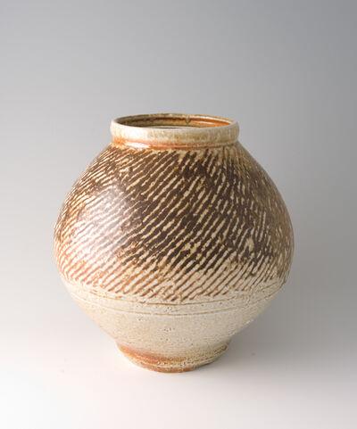 Tatsuzo Shimaoka, 'Jar, rope and slip inlay with natural ash glaze'