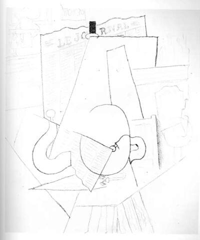 Pablo Picasso, 'Homme au Parapluie assis à une Table à l'Intérieur d'un Café', 1914