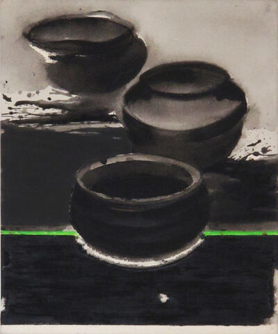 "Madhu Basu, 'Magma n°244, Acrylic & Pigment on canvas, Black, Green, Grey ""In Stock""', 2019"