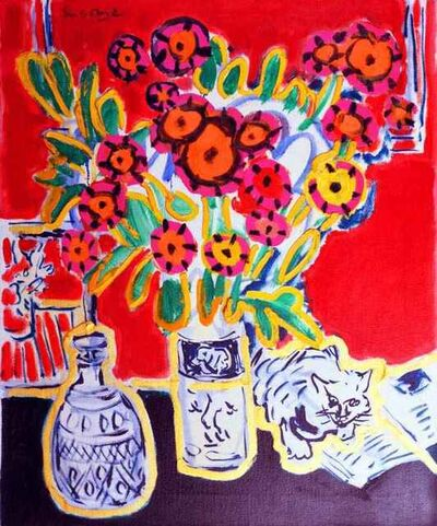 Wayne Ensrud, 'Happy Cat with Bouquet', 1988