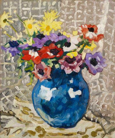 Louis Valtat, 'Anémones et marguerites au vase bleu,', 1933