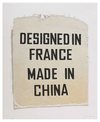 Analia Saban, 'Designed in France, Made in China, Clothing Tag', 2019