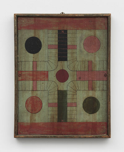 Unknown Artist, 'Polychrome Double-Sided Parcheesi/Checkers Game Board', Late 19th Century