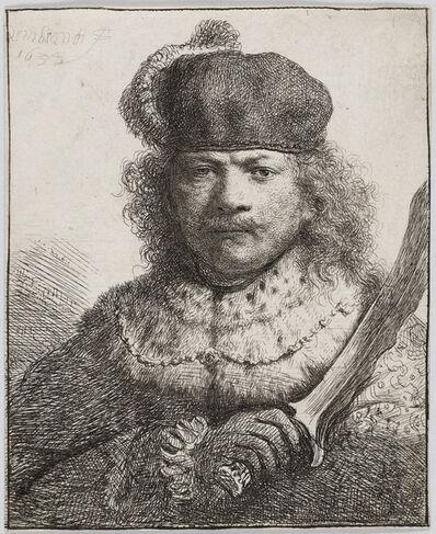 Rembrandt van Rijn, 'Self-Portrait with Raised Sabre', 1634