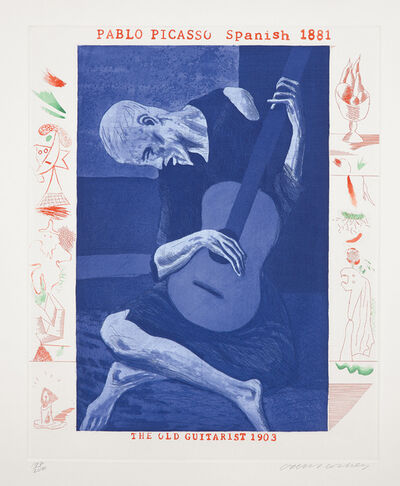 David Hockney, 'The Old Guitarist, plate 2, from The Blue Guitar', 1976-77