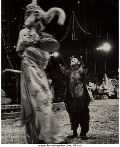 Rae Russel, 'Emmet Kelly and Dancer on Stilts and Emmett Kelly, Trapeze in Backround (Two works)', 1954