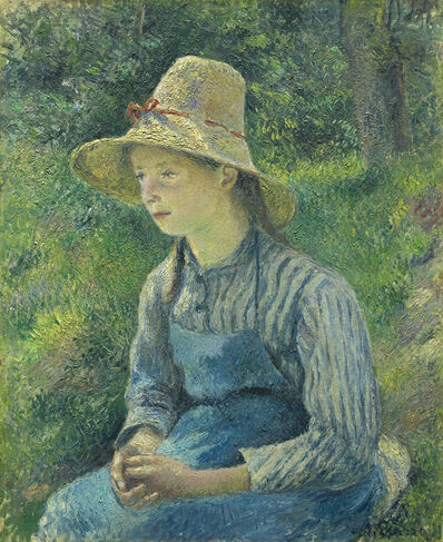 Camille Pissarro, 'Peasant Girl with a Straw Hat', 1889