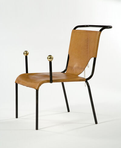 "Lina Bo Bardi, '""Bola"" armchair with black iron frame and leather seat and back with lace-up detailing. Designed by Lina Bo Bardi, Brazil, 1951.(seat: 16"" H)', 1980s"