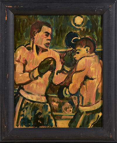 Arthur Smith, 'Four Oil And Ink Boxing Scenes On Board'