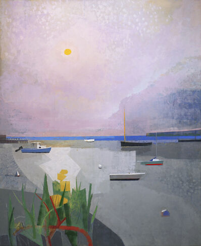 John Evans, 'Finally, is bayside painting with abstract boats, a lavender sky and green plants. Modernist themes.', 2017
