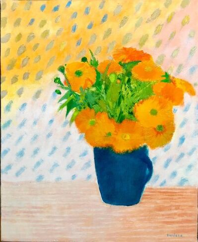 Guy Bardone, 'Soucis au Petit Pot Bleu, Floral Oil Painting Marigold Flower Bouquet in Vase', 20th Century