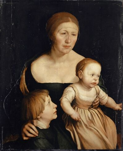Hans Holbein the Younger, 'Portrait of the Holbein family: The Artist's Wife and the Two Eldest Children', 1528