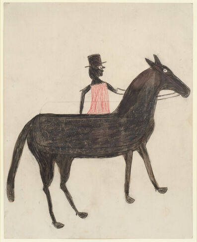 Bill Traylor, 'Black Horse, Red Rider', 1939-1942