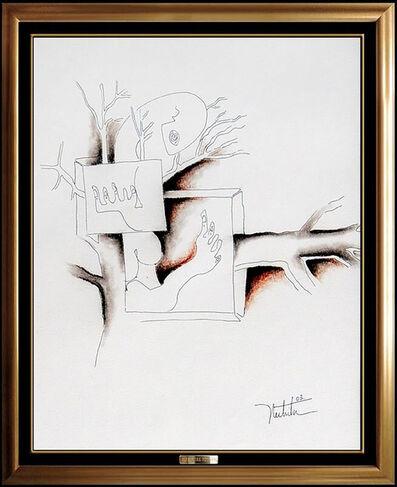 Alexandra Nechita, 'Alexandra Nechita Original Ink Drawing Signed Cubism Portrait Petite Picasso Art', 2003