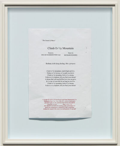 Robert Gober, 'Untitled (Climb Ev'ry Mountain)', 2011