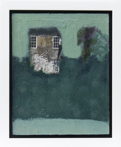 Jennifer Hornyak, 'Hideaway - small dark teal, green, blue, lilac, collage oil painting', 2020