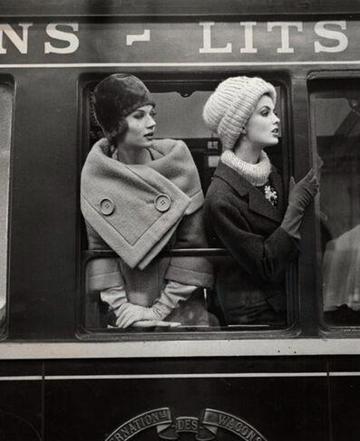 Louis Faurer, 'Simone D'Aillencourt and Dorothea McGowan at train window', ca. 1960