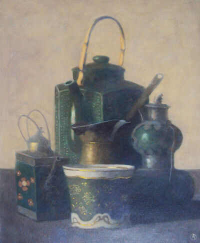 Olga Antonova, 'Green teapot and cups', 2018