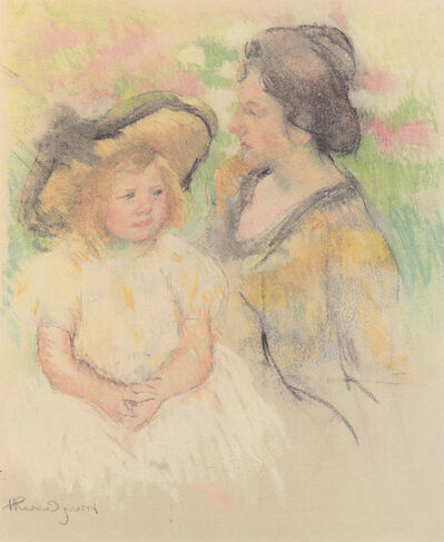 Mary Cassatt, 'Simone Seated on the Grass Next to Her Mother'