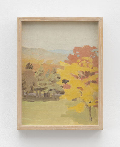 Fairfield Porter, 'Untitled [view of Pelham hills with tree with Fayerweather Hall (A); still life with bottles (B)]', 1969